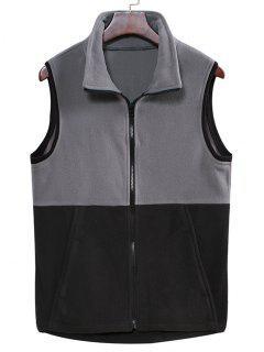 Colorblock Zipper Fleece Vest - Carbon Gray Xl