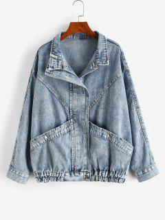 Snap Button Big Pocket Dolman Sleeve Denim Jacket - Blue