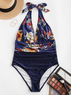 ZAFUL Flower Ruched Backless One-piece Swimsuit - Deep Blue S