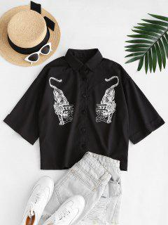 Tiger Chinese Character Drop Shoulder Cuffed Sleeve Shirt - Black S