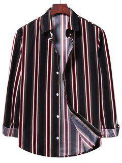 Chemise à Rayure Verticale Bontonnée - Noir 2xl