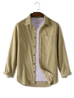 Button Up Solid Color Corduroy Jacket - Light Yellow S