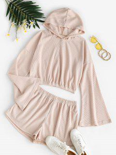 ZAFUL Plain Textured Two Piece Set - Light Coffee M