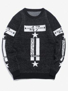 Pull Lettre Graphique Fourré Etoile En Tricot - Noir Xs