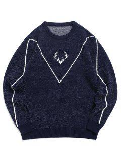 Fuzzy Knit Elk Horn Graphic Ribbed Hem Sweater - Cadetblue M