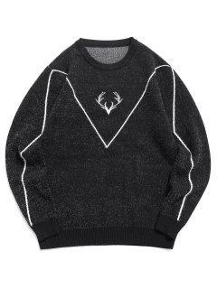Camisola De Lã Tricotada Com Nervuras E Fecho De Correr - Preto S