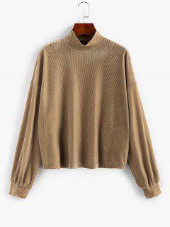 ZAFUL Ribbed Mock Neck Drop Shoulder Sweatshirt - Light Khaki M