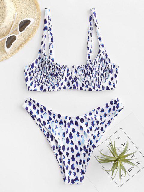 chic ZAFUL Leopard Smocked Underwire High Leg Bikini Swimwear - BLUEBERRY BLUE M Mobile