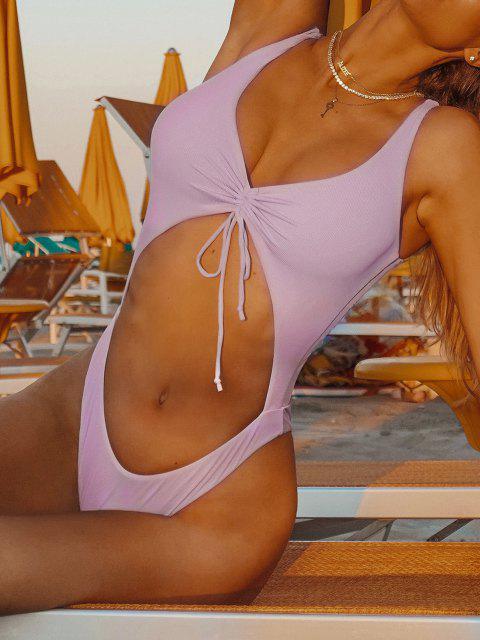ZAFUL Traje de Baño de Una Pieza Ahuecado con Cordones - Púrpura S Mobile