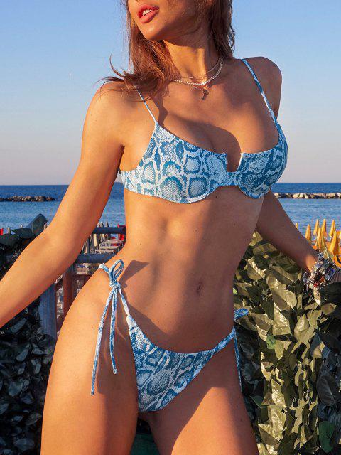 affordable ZAFUL Leopard Snakeskin Tie Side Underwire Bikini Swimwear - LIGHT BLUE S Mobile