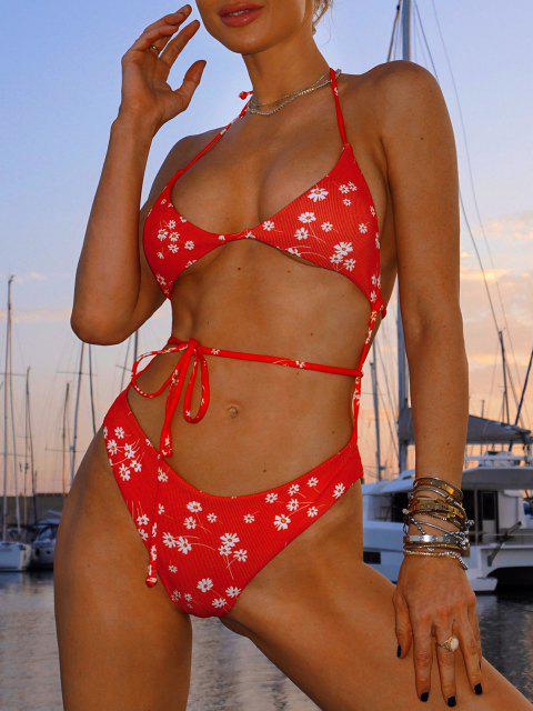 new ZAFUL Halter Ditsy Print Crisscross Ribbed Monokini Swimsuit - RED L Mobile