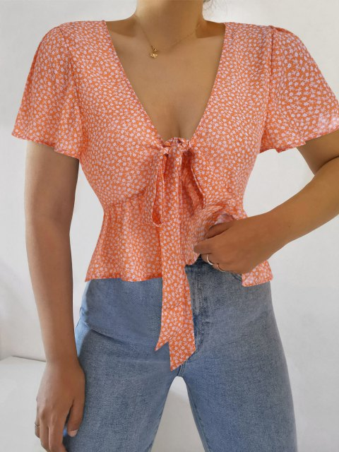 buy ZAFUL Ditsy Print Tie Front Flutter Sleeve Peplum Blouse - ORANGE S Mobile