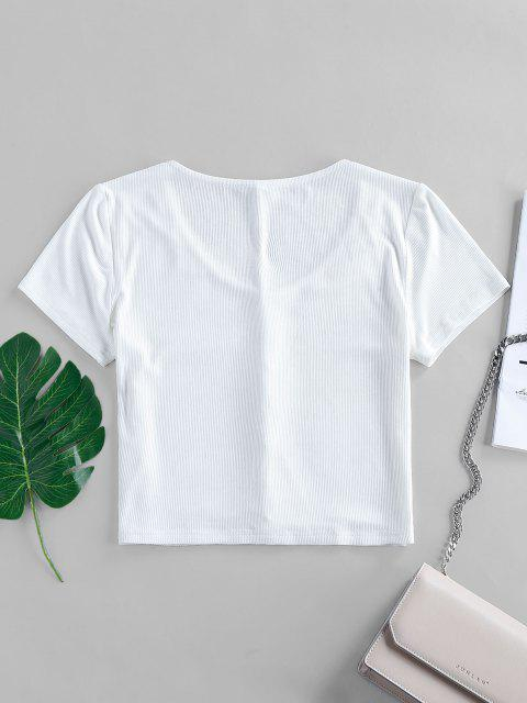 best ZAFUL Ribbed Loop Button V Neck Crop T-shirt - WHITE M Mobile