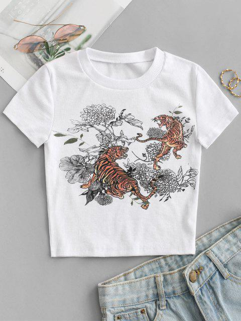 Tiger Blumendruck Geripptes Crop T-Shirt - Weiß M Mobile