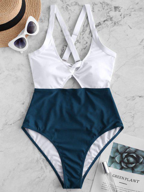 shop ZAFUL Color Blocking Criss Cross Cut Out Swimsuit - PEACOCK BLUE L Mobile