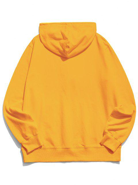 womens Finger Heart Graphic Pouch Pocket Casual Hoodie - YELLOW S Mobile