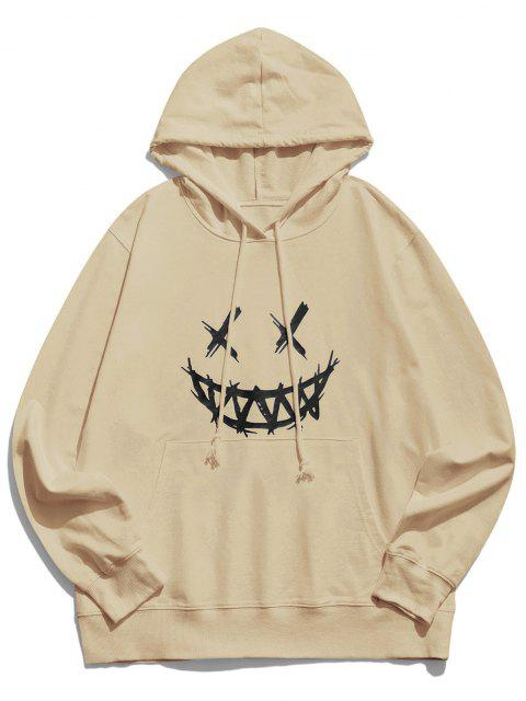 shop Happy Face Graphic Pouch Pocket Casual Hoodie - LIGHT COFFEE XL Mobile