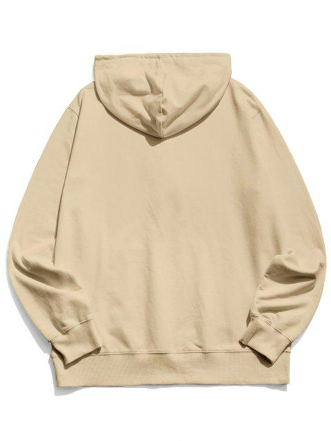 affordable Happy Face Graphic Pouch Pocket Casual Hoodie - LIGHT COFFEE L Mobile