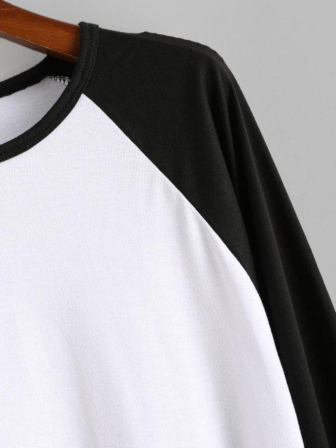 affordable Raglan Sleeve Contrast Baseball T-shirt - WHITE 3XL Mobile