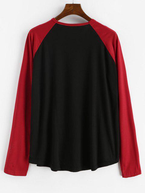 new Raglan Sleeve Contrast Baseball T-shirt - BLACK 2XL Mobile