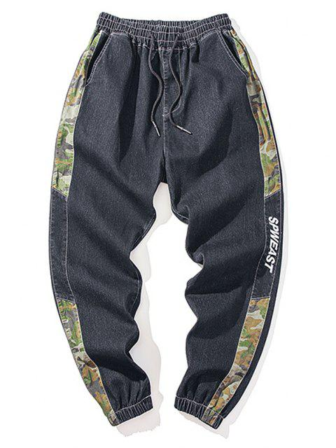fashion Camouflage Panel Letter Embroidery Jeans - BLACK M Mobile