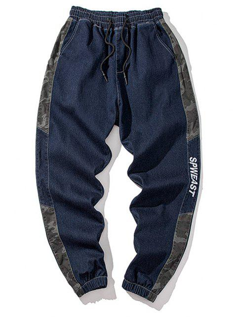 chic Camouflage Panel Letter Embroidery Jeans - DEEP BLUE S Mobile