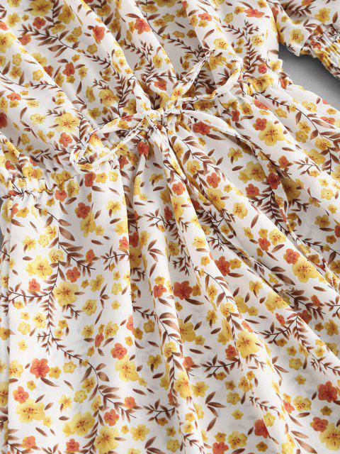 Robe Fleurie Plissée à Manches Bouffantes à Volants - Jaune clair L Mobile