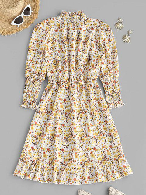 ladies Floral Smocked Puff Sleeve Flounce Dress - LIGHT YELLOW S Mobile
