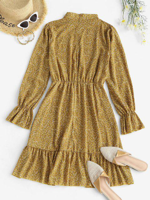 best Ditsy Floral Ruffle Cuff Long Sleeve Dress - LIGHT YELLOW XL Mobile