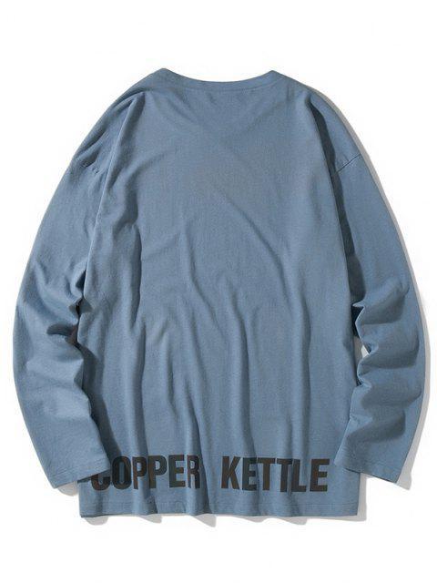 Camiseta emagrecedora de mangas longas - Seda de Azul 2XL Mobile