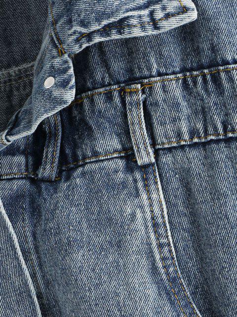 women Buttoned Back Drop Shoulder Pocket Denim Jacket - LIGHT BLUE S Mobile