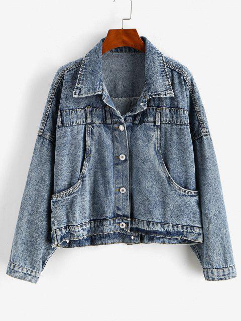 Buttoned Back Drop Shoulder Pocket Denim Jacket - أزرق فاتح M Mobile
