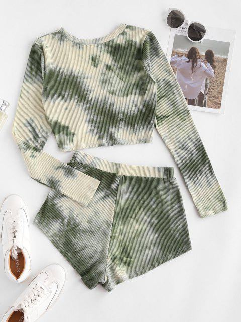 women's Twisted Front Tie Dye Ribbed Two Piece Set - LIGHT GREEN S Mobile