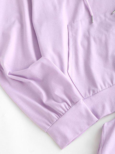 buy Raglan Sleeve Kangaroo Pocket Two Piece Pants Set - LIGHT PURPLE M Mobile