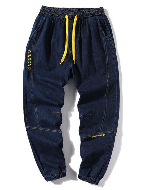 fashion Letter Embroidery Stitching Elastic Cuff Jeans - DENIM DARK BLUE S Mobile
