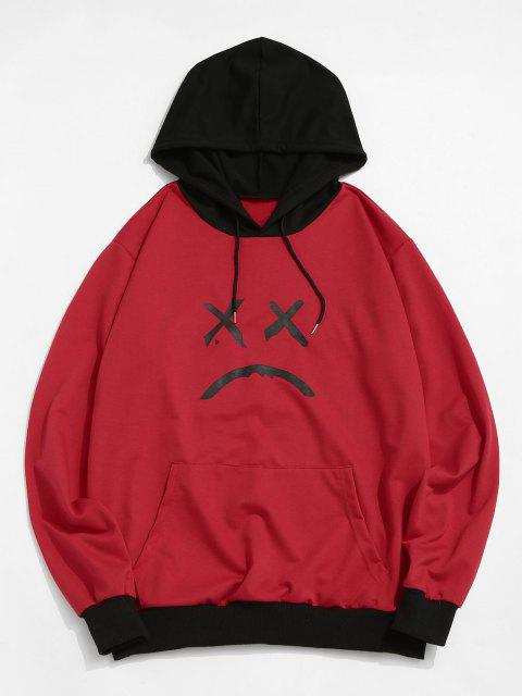 fancy ZAFUL Ribbed-trim Front Pocket Face Graphic Hoodie - RED 2XL Mobile