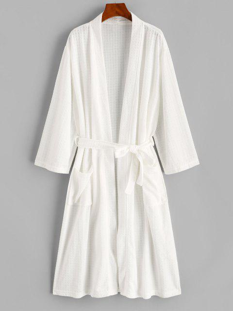 ladies Belted Textured Dual Pocket Longline Robe - WHITE M Mobile