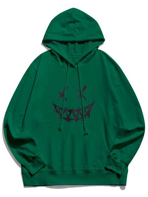 fancy Happy Face Graphic Pouch Pocket Casual Hoodie - DEEP GREEN XS Mobile