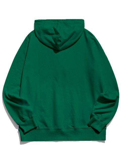 lady Happy Face Graphic Pouch Pocket Casual Hoodie - DEEP GREEN M Mobile