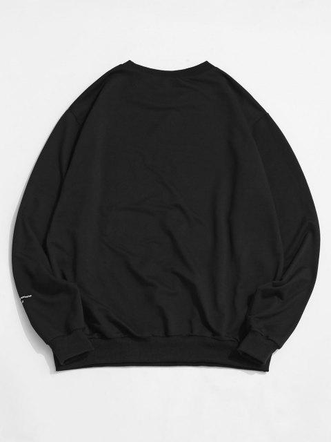 outfits ZAFUL Crew Neck Universe Graphic Sweatshirt - BLACK S Mobile