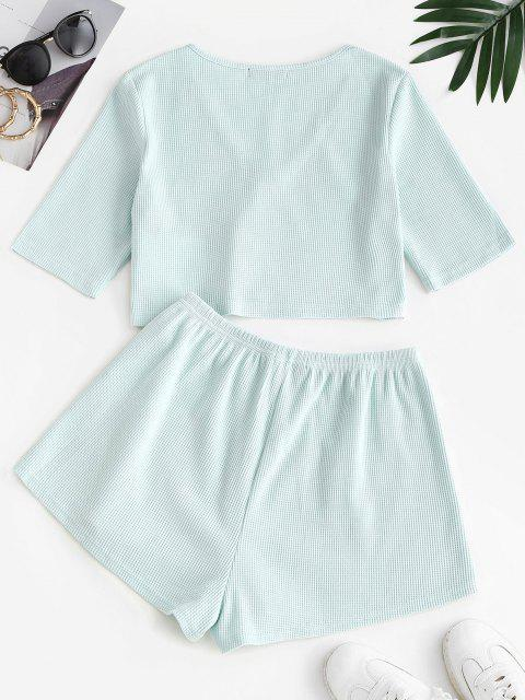 online ZAFUL Knitted Loop Button Plunge Two Piece Set - LIGHT GREEN S Mobile