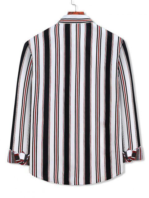 配色ストライプ柄ボタン付きシャツ - 白 2XL Mobile
