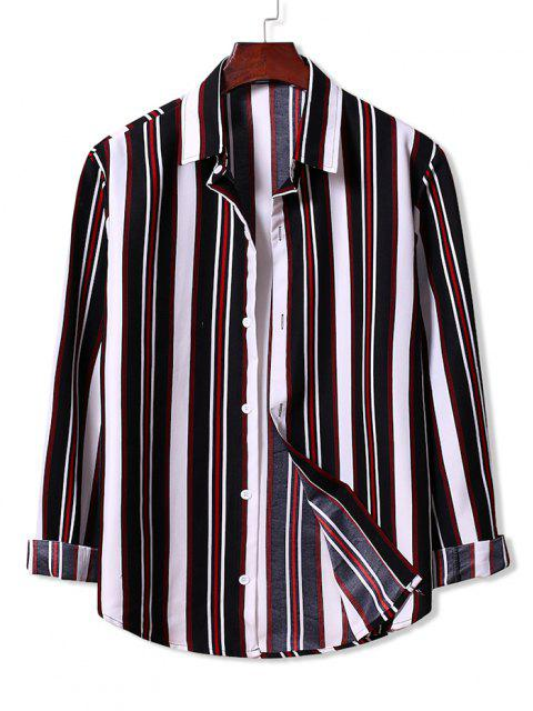chic Colorblock Stripes Pattern Button Up Shirt - BLACK L Mobile