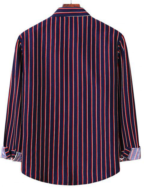 unique Vertical Striped Shirt - MIDNIGHT BLUE S Mobile