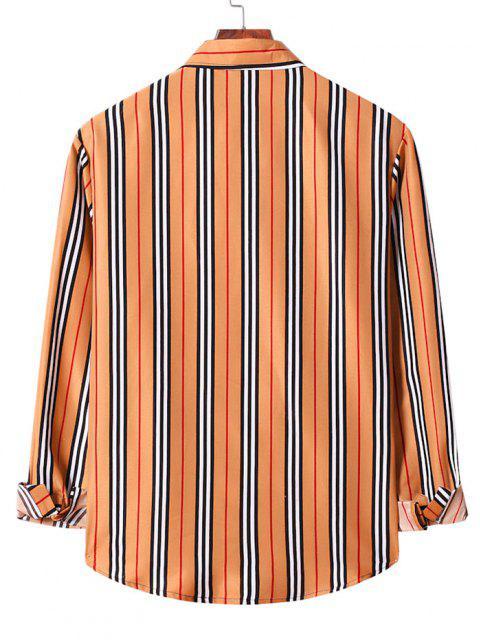 shop Casual Vertical Stripe Button Up Shirt - SANDY BROWN S Mobile