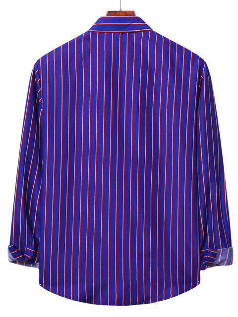 Camisa Rayas Verticales - Azul M Mobile