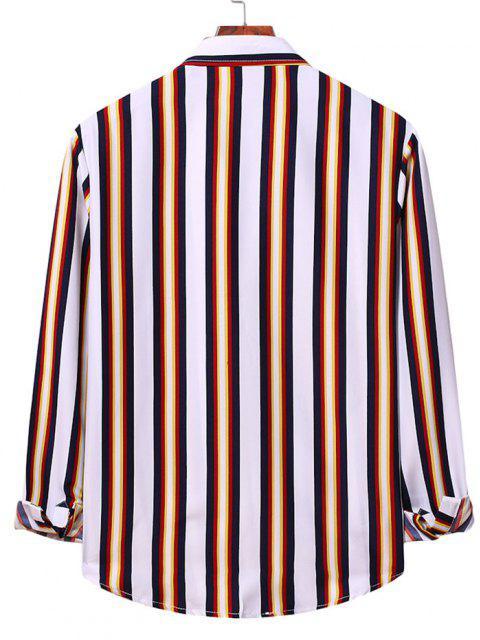 Camisa a Rayas Verticales con Botones - Blanco M Mobile