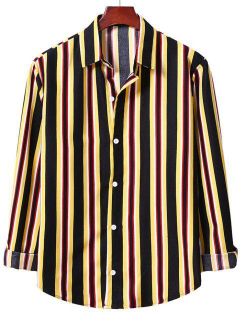 Camisa a Rayas Verticales con Botones - Amarillo M Mobile