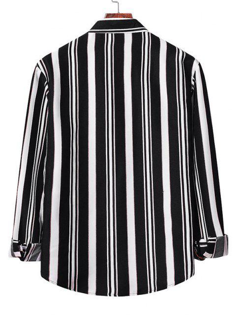 fancy Button Up Striped Shirt - BLACK M Mobile