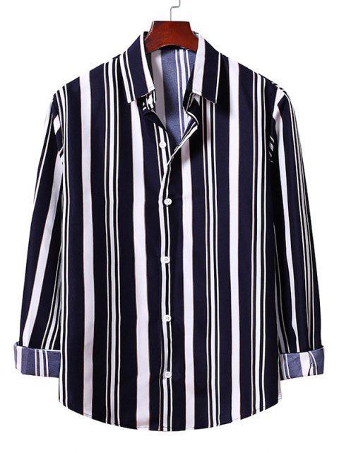 ストライプのシャツアップボタン - デニムダークブルー 2XL Mobile